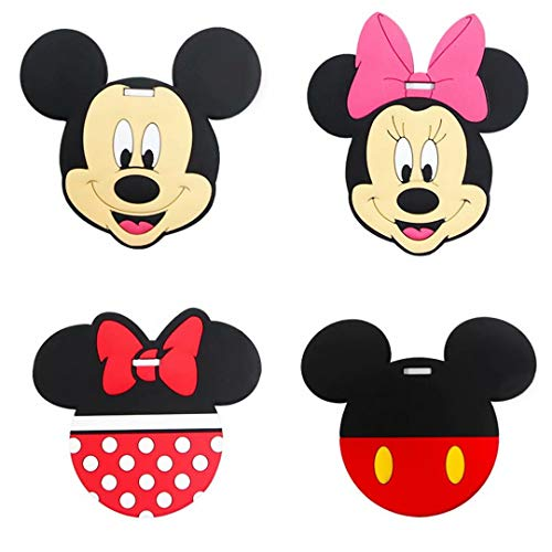 Cartoon Cute Kawaii Travel Luggage Tag for Bags with Adjustable Strap - Set of 4 (Mickey Mouse)