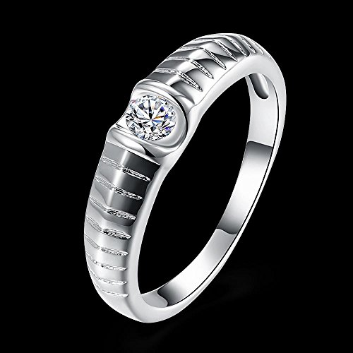 Set van stenen ringen met zilveren ring ronde ring, verzilverd / 8, 8