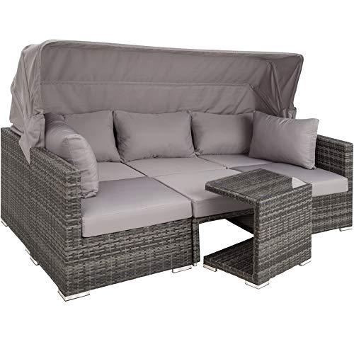 TecTake 800771 Aluminium Poly Rattan Lounge Set, 16-teilig, wetterfest, Garten Sofa mit Sonnendach, Outdoor Sitzgruppe inkl. Kissen und Beistelltisch - Diverse Farben - (Grau | Nr. 403237)