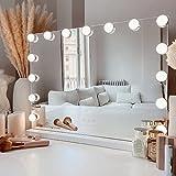 Flamingueo Espejo Maquillaje con Luz - Espejo Tocador 15 Bombillas LED, Espejo Hollywood, Espejo Tocador con Luz 3 Modos, Tocador de Maquillaje, Regalos Originales, Espejo Maquillaje Grande