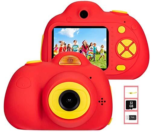YunLone ToyZoom - Cámara infantil de 18 MP, cámara de 1080P, HD, digital, videocámara para niños, con tarjeta SD de 32 GB, regalo para niñas, zoom 4X, dos objetivos/120° gran angular