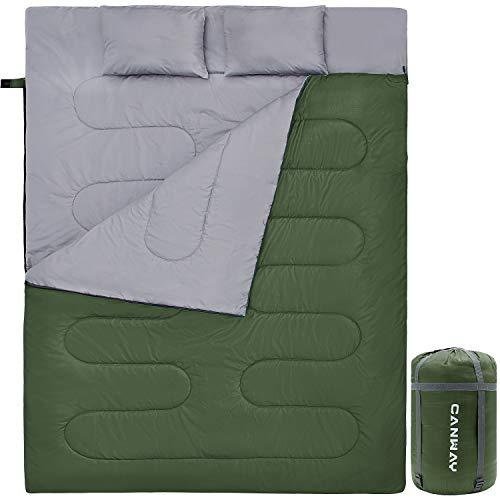 CANWAY Doppelschlafsack Deckenschlafsack 220 x 150cm für 2 Erwachsenen Sommerschlafsack mit 2 Gratis Kissen, eine Tragetasche für Outdoor Camping Wandern (Grün)