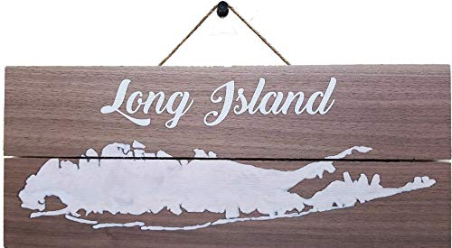 """Quarksoft - Long Island Wall Art on Maple Wood Plaque Wall Sign Size 12"""" x 5"""" (Brown/White)"""