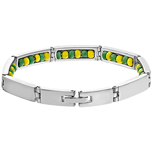 In Season Jewelry - Acero Inoxidable Color Verde y Amarillo Orula Escondido Brazalete 20cm