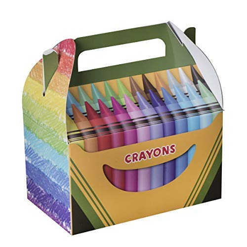 Hammont Paper Treat Boxes -10 Pack- Party Favors Treat Container Cookie Boxes Cute Designs Perfect for Parties and Celebrations 6.25' x 3.75' x 3.5' (Crayon)