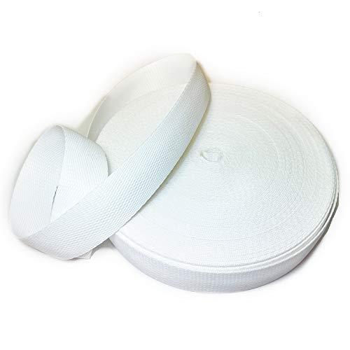Cinta nylon polipropileno de 3 cm para mochilas, riñoneras, cinturones (blanco)