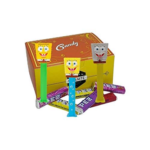 SpongeBob Pez Candy Dispensers Set - Pez Dispensers With 6 EXTRA Pez Candy Refills | Bubbles SpongeBob, Crystal SpongBob and Glitter SpongeBob | SpongBob SquarePants Party Favors In a Gift Box