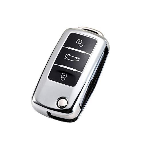 CONKOR Schlüsselhülle - TPU-Hülle für Autoschlüssel in Silber, passend für VW, Skoda, Seat - Effektiver Schutz, Hochglanz Auto-Liebhaber - Auto-Zubehör (Silber)