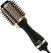 Hair Dryer Brush, FVW Hot Air Brush, Hair Dryer Styler & Volumizer 3-in-1 Brush for Hair Fast Drying, Straightening and Curling, 3-Adjustable Temperature and Speed, Golden