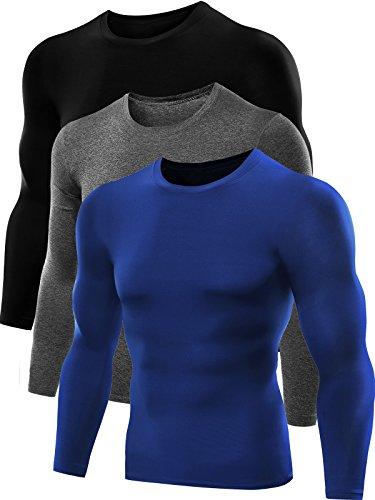 Neleus Men's Dry Fit Athletic Compression Shirts 3 Pack,5021,Red,Grey,Blue,US XL,EU 2XL