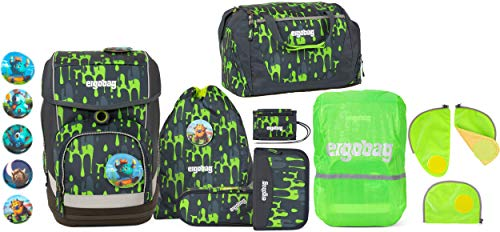 ergobag cubo GlibbBär Schulranzen-Set 5tlg. + Sporttasche + Brustbeutel + Sicherheitsset & Regencape Grün