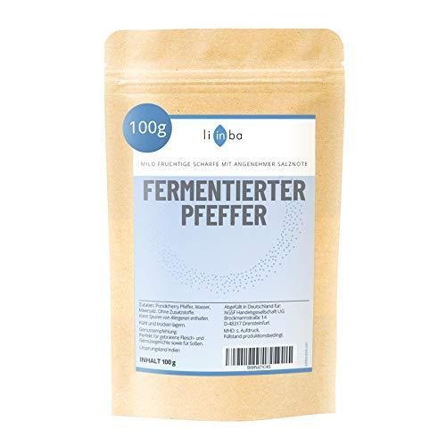 Fermentierter Pfeffer • li in ba Gourmetpfeffer • 100g • fruchtige Schärfe mit angenehmer Salznote • Schwarzer Pfeffer ganz • Pfefferkörner schwarz fermentiert • in Deutschland abgefüllt
