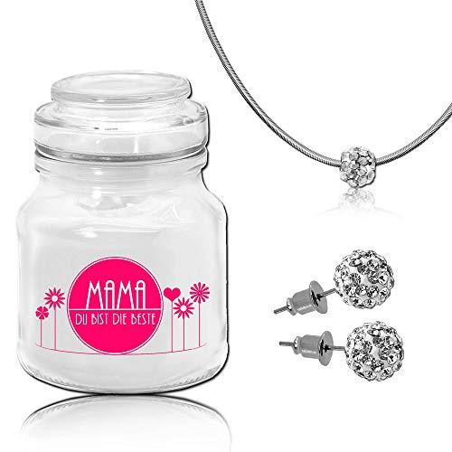 Tumundo Fashion Candle Schmuck-Kerze Muttertag Mama Geschenkidee Kerze im Glas mit Schmuck Duftkerze, Schmuckstück:Halskette + Ohrstecker