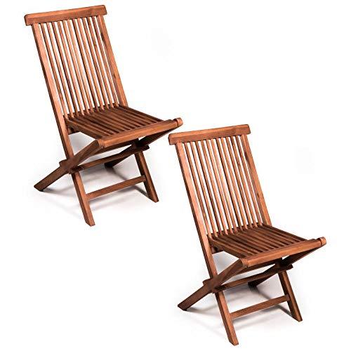 San Marco Set 2 sedie Pieghevoli in Legno Teak da Esterno per Il Giardino.