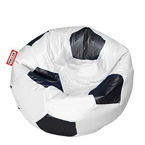 Sillon Puff Balon Soccer Grande Blanco con Negro, 1 MT diametro