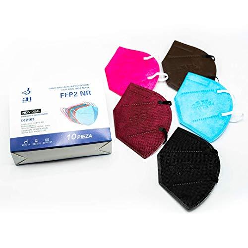 +QH Medicine x10 Mascarillas FFP2 NR - Colores surtidos - Autofiltrado de alta eficacia protección polvo y partículas - Embolsado individual - Colores vivos y bonitos (pack 10 mascarillas)