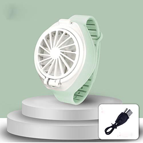XZJJZ USB Reloj al Ventilador, Ventilador USB Recargable con cómodos Correa for la muñeca Mini Ventilador portátil Personal del Ventilador en Forma de Reloj (Color : Green)