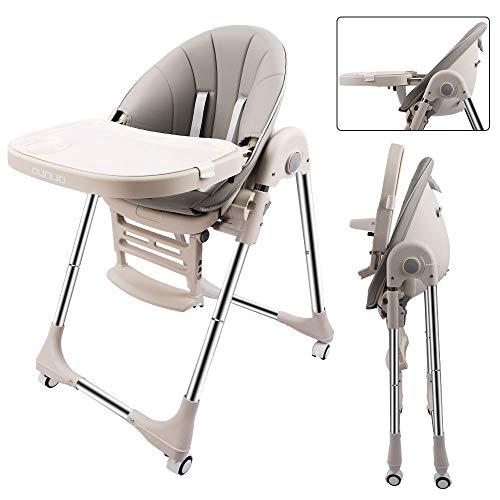 OUNUO Baby Hochstuhl Vertehllbar und Klappbar Kinderhochstuhl mitwachsend Kindersitz Kinderstuhl mit Sicherheitsgurt 6 Monaten bis 6 Jahre PU Leder Kissen Grau