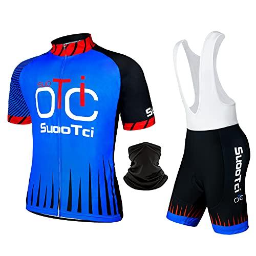 SuooTci Tuta Ciclismo Uomo Abbigliamento MTB Estivo Maniche Corte Completo Bici da Corsa-A-3XL