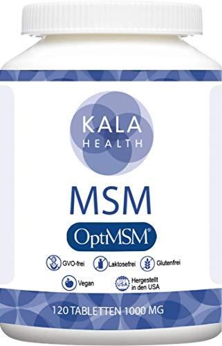 Kala Health - OptiMSM® (Methylsulfonylmethan) 120 Tabletten hochdosiert, 99,9% reines MSM schwefel Laborgeprüfte Herstellung ohne Zusätze in den Vereinigten Staaten