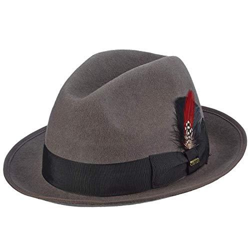 Scala Men's Wool Felt Fedora Hat, Grey, X-Large -  WF529
