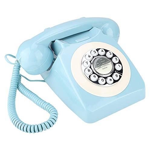 Tangxi Teléfono de Oficina de línea Fija de Estilo Retro para el hogar, teléfono con Cable a la Antigua con tecnología clásica de botón de Campana de Metal