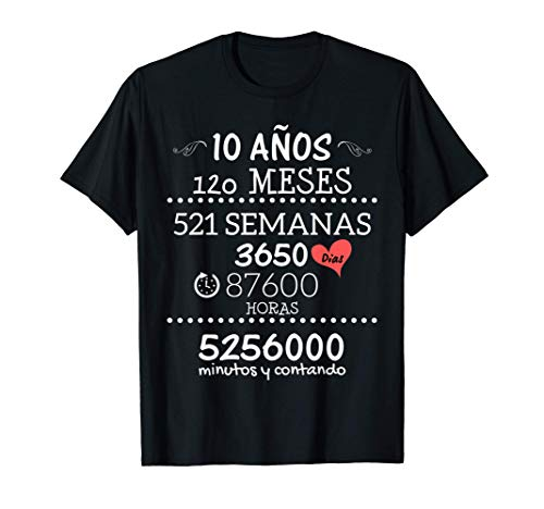 Camiseta para Parejas Regalo de Aniversario de Bodas 10 Años Camiseta