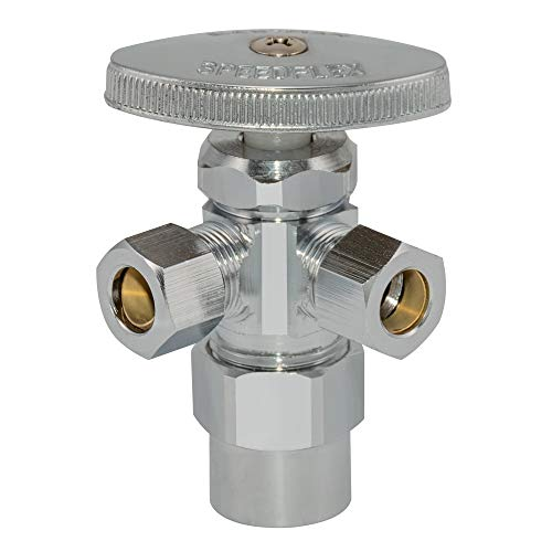 Eastman 04349LF Multi-Turn Dual Outlet Shut-Off Valve 1/2 inch CPVC x 3/8 inch Comp x 3/8 inch Comp, Chrome