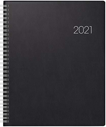 BRUNNEN 1076101901 Buchkalender Manager Wt 7 - weektimer, 2 Seiten = 1 Woche, 21 x 26 cm, Kunststoff-Einband schwarz, Kalendarium 2021, Wire-O-Bindung