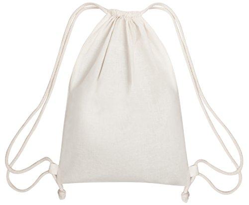 Pack de 2mochilas de cordón reutilizables–respetuosas con el medio ambiente, ajustables, ligeras y económicas bolsas para deporte, escuela, viajes, compras (blanco Natural)