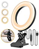 ELEGIANT 6.3' Selfie Ring Light with Clamp Mount for Desk, Bed, Office, Makeup, YouTube, Video, Live Steam & Broadcast, 3 Dimmable Color & 11 Brightness Level, 360 Degrees Rotatable