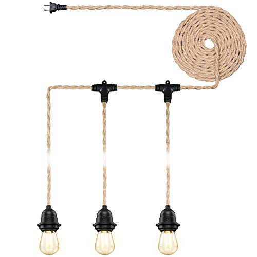Industrial Triple Ceiling Pendant Light,Vintage Weatherproof Hanging Light Kit Fixture with Plug in Hemp Rope Cord,DIY Outdoor Fireproof Chandelier for Garden, Backyard,Living Room (UL Listed,E26)