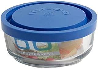 Trasparente//Blu 15 cm Tondo Borgonovo 6277515 Igloo Contenitore in Vetro