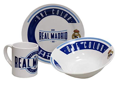Real Madrid Set de Desayuno vajilla, Unisex Adulto, Blanco/Azul (Blanco), Talla Única