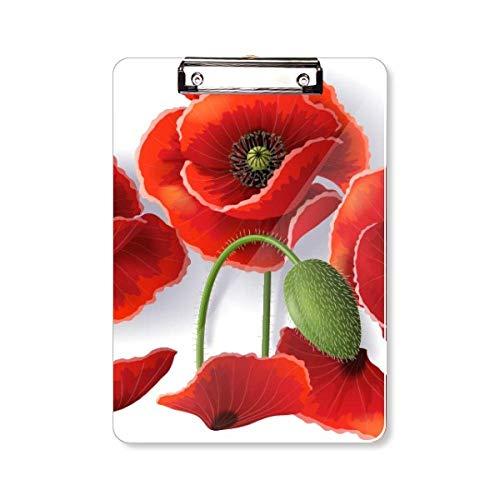 Rode Bloemen Schilderij Maïs Papaver Bloemblaadjes Fruit Clipboard Folder Schrijven Pad Achterplaat A4