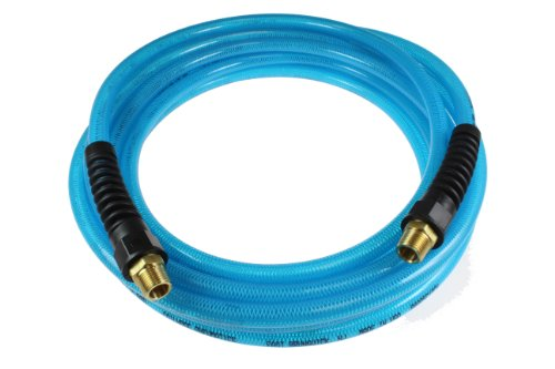 Coilhose Pneumatics PFE51004T Flexeel Reinforced Polyurethane Air Hose, 5/16-Inch ID, 100-Foot Length with (2) 1/4-Inch MPT Reusable Strain Relief Fittings, Transparent Blue