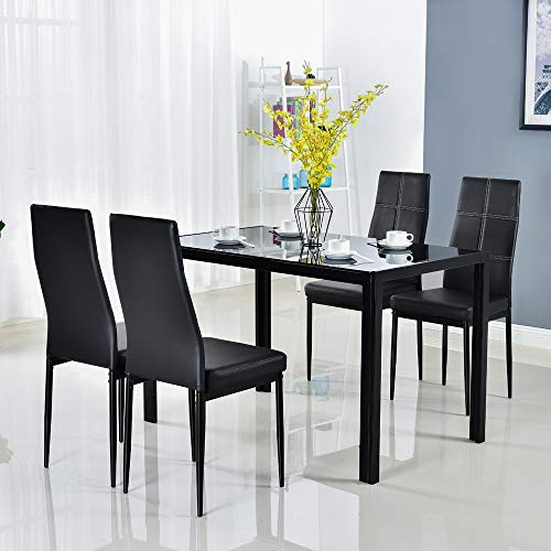 Bonnlo 5 Pieces Dining Table Set Kitchen Dining Room Table Set for 4 Glass Dinner Table for Dining Room, Kitchen, Dinette Glass Tabletop with 4 PU Leather Metal Chairs, Black