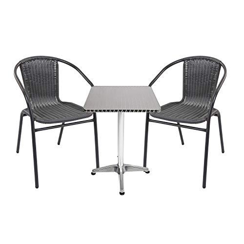 Mojawo - Conjunto de mesa y sillas de jardín (3 piezas, aluminio rectangular, 60 x 60 cm, altura 70 cm, altura 110 cm, altura regulable, 2 sillas apilables, acero/ratán), color negro