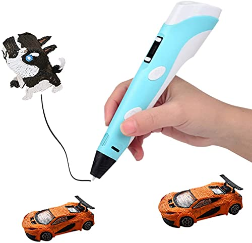 3D Stift für Kinder mit PLA-Filamenten in 3 Farben, 3D-Zeichenstift mit LCD-Bildschirm, 3D-Doodler Stift, kreatives DIY-Geschenk, beste Geschenke für Kinder, Erwachsene, Urlaub(Blau)