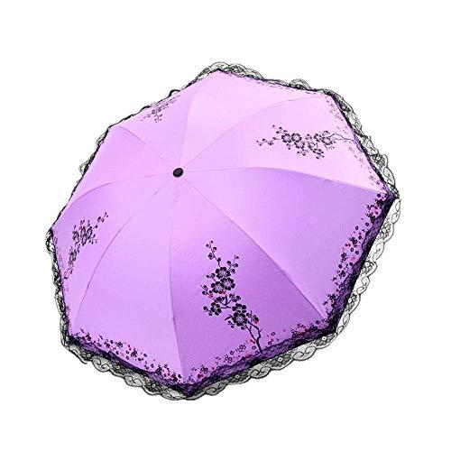 DZNOY Paraguas Plegables sombrilla Paraguas impresión de Encaje Manual Apertura y Cierre protección Sol protección UV protección Lluvia y Sol Doble propósito sombrilla (Color : Violet)