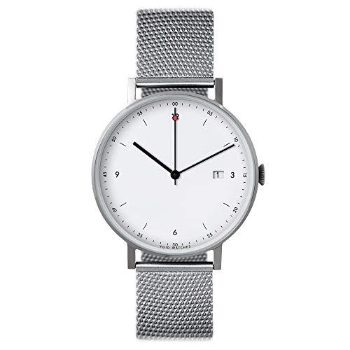 Pkg 01–minimalista, orologio da polso analogico di Void Watches Matt argento spazzolato gomma & silbernes Milan ESE Bracciale