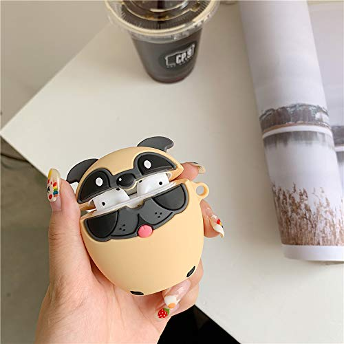 LEWOTE Airpods Silicone Case Cover Compatible for Apple Airpods 1&2[Cute Pet Design][Best Gift for Girls or Boys Man Woman] (Pug Dog)