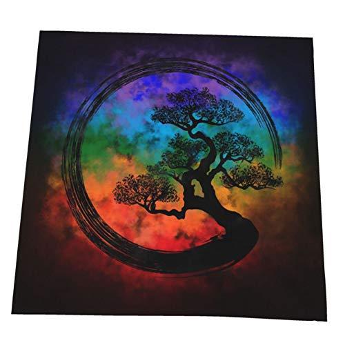 Juego de 4 servilletas de tela Enso Zen Circle y Bonsai Nebulosa de árbol suave lavable y reutilizable servilletas de cena para el hogar, restaurante, hotel, boda, 50 x 50 cm