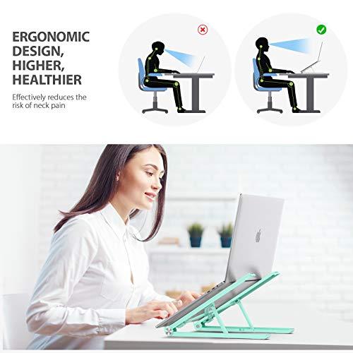 Tounee Laptop Ständer, ergonomischer Notebook Ständerhalter für den Schreibtisch, vollständig Faltbarer Laptop-Riser, kompatibel mit MacBook, Dell, HP, Lenovo, alle von 10 bis 17,3 Zoll (schwarz)