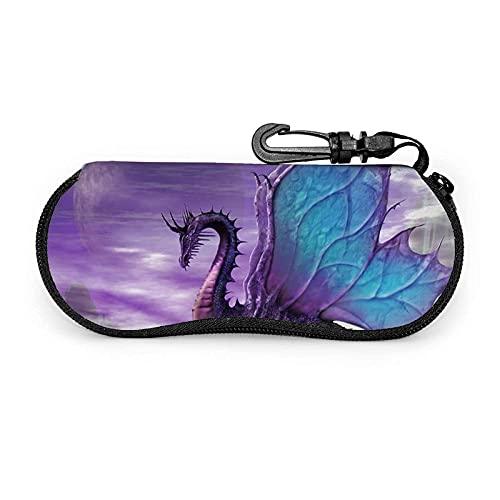 AOOEDM Estuche blando para gafas de sol Purple Dragon Estuche para anteojos con cremallera de neopreno ultraligero y clip para cinturón
