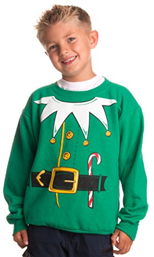 Kid's Santa's Elf Costume | Novelty Christmas Sweater, Holiday Child Sweatshirt - (YCrew,L)