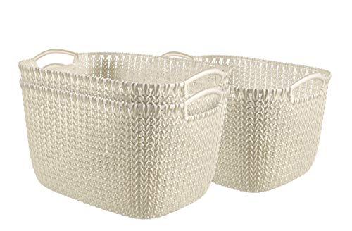 Curver 240628 - Set de 3 cestas Knit, tamaño L, 19 litros, color crema