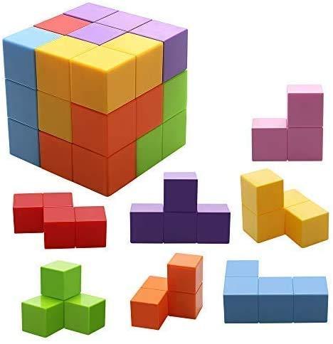 Jhua Magnetische Steine für Kinder mit 54 Smarte Teile Puzzles 3D Gehirn Training Intelligenz Stressabbau Spielzeug Spiele Quadratische Magnete Würfel