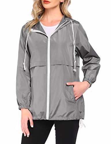 Beyove Rain Jacket Women's Waterproof Hooded Windbreaker Lightweight Packable Sport Ladies Jackets