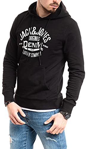 Jack and Jones - Sudadera con capucha para hombre Black Print White 199 S